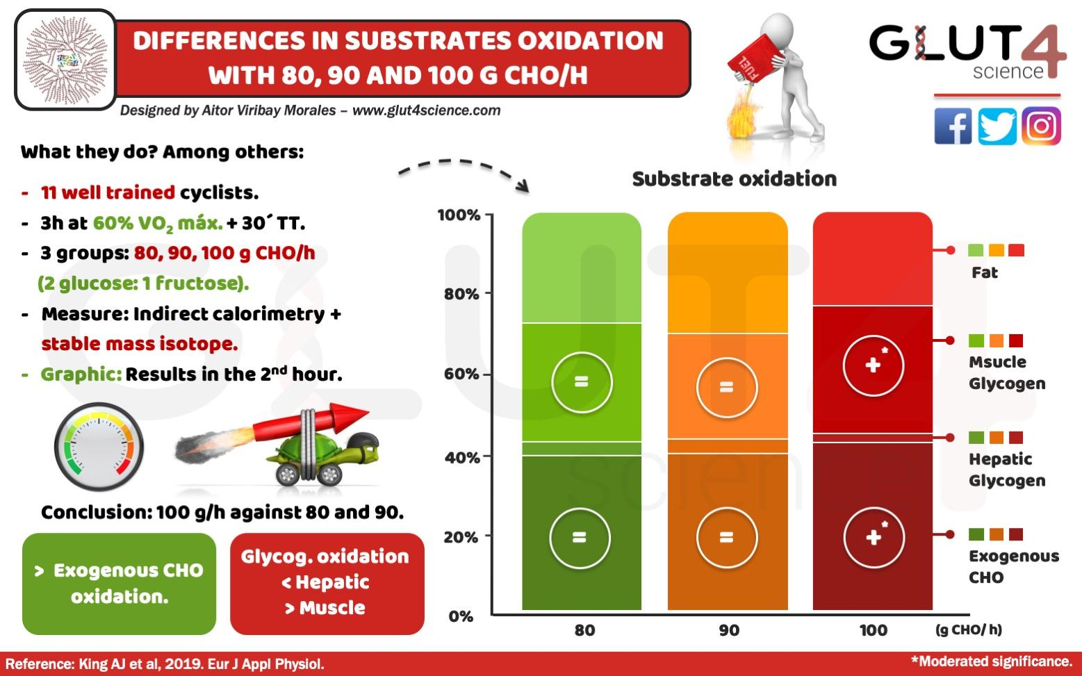 Substrate oxidation 80,90 and 100 g/h